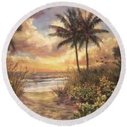 Fort Myers Sunset Round Beach Towel