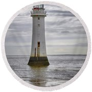Fort Perch Lighthouse Round Beach Towel by Spikey Mouse Photography
