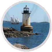 Round Beach Towel featuring the photograph Fort Pickering Light by Denyse Duhaime
