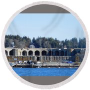Fort Popham In Maine Round Beach Towel