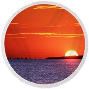 Fort Story Sunrise Round Beach Towel