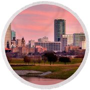Round Beach Towel featuring the photograph Fort Worth Skyline At Dusk Evening Color Evening Panorama Ft Worth Texas  by Jon Holiday