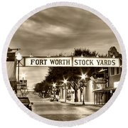 Fort Worth Stock Yards In Sepia Round Beach Towel