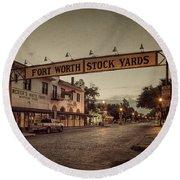Fort Worth Stockyards Round Beach Towel