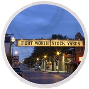 Fort Worth Stockyards Round Beach Towel