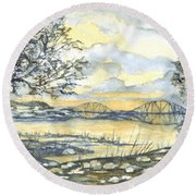 Forth Rail Bridge Edinburgh In Scotland Round Beach Towel by Carol Wisniewski