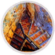 Fortress Steps Round Beach Towel by Stephen Anderson