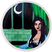 Round Beach Towel featuring the painting Fortune Teller by Don Pedro De Gracia