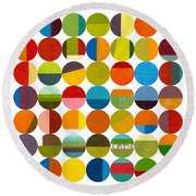 Forty Nine Circles 2.0 Round Beach Towel