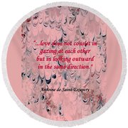 Forward Looking Love Round Beach Towel