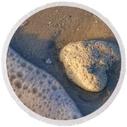 Found Heart Round Beach Towel by Peggy Hughes