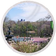 Fountain In A Park, Bethesda Fountain Round Beach Towel