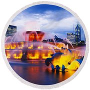 Fountain Lit Up At Dusk, Buckingham Round Beach Towel by Panoramic Images
