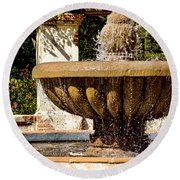 Fountain Of Beauty Round Beach Towel by Peggy Hughes