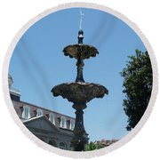 Round Beach Towel featuring the painting Fountain  by Robin Maria Pedrero