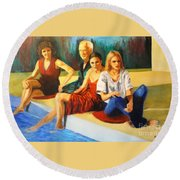 Four At A  Pool Round Beach Towel