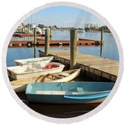 Round Beach Towel featuring the photograph Four Boats  by Cynthia Guinn