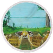 Round Beach Towel featuring the painting Four Chairs by Jeanne Fischer