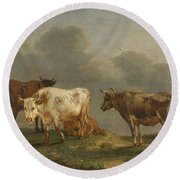 Four Cows In A Meadow Round Beach Towel