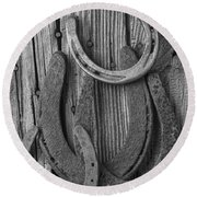 Four Horseshoes Round Beach Towel