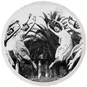 Four Leaping Grecian Dancers Round Beach Towel