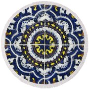 Four Painted Tiles-mexico Round Beach Towel