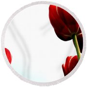 Four Red Tulips Round Beach Towel by Michelle Calkins