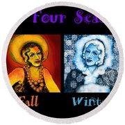 Four Seasons In A Row Round Beach Towel by Carol Jacobs