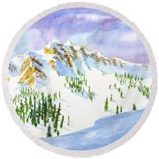 Four Sisters At Snowbasin Round Beach Towel