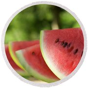 Four Slices Of Watermelon Round Beach Towel