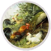 Fowl And Peacocks Round Beach Towel by Arthur Fitzwilliam Tait