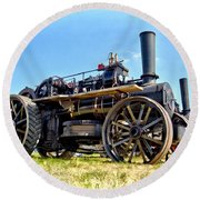 Fowler Ploughing Engine Round Beach Towel