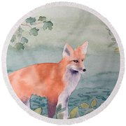 Fox And Birch Round Beach Towel