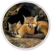 Best Friends - Fox Kits At Rest Round Beach Towel by John Vose