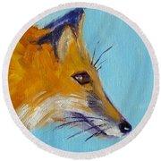 Fox Round Beach Towel by Nancy Merkle