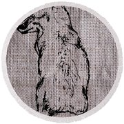 Fox On Burlap  Round Beach Towel