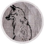 Fox On Burlap  Round Beach Towel