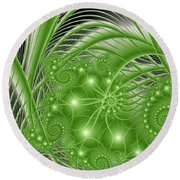 Fractal Abstract Green Nature Round Beach Towel