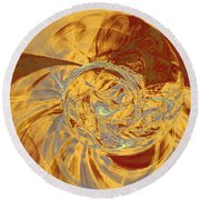 Fractal Ammonite Round Beach Towel by Menega Sabidussi