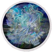 Fractal Feathers Blue Round Beach Towel