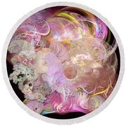 Fractal Feathers Pink Round Beach Towel
