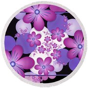 Fractal Flowers Modern Art Round Beach Towel