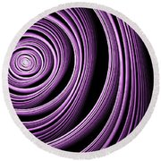 Fractal Purple Swirl Round Beach Towel