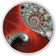 Fractal Spiral Art Red Grey And Light Blue Round Beach Towel