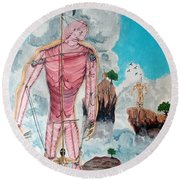 Fragiles Colossus Round Beach Towel