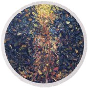 Round Beach Towel featuring the painting Fragmented Flame by James W Johnson