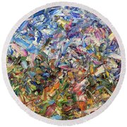Fragmented Garden Round Beach Towel