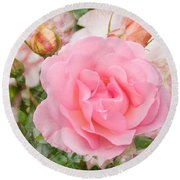 Fragrant Cloud Rose Round Beach Towel by Jane McIlroy