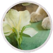 Fragrant Gardenia Round Beach Towel