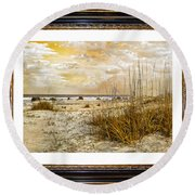 Framed Dunes Round Beach Towel